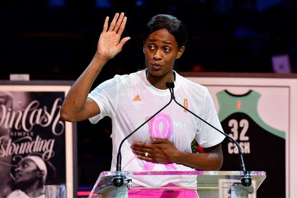 New York Liberty forward Swin Cash speaks at