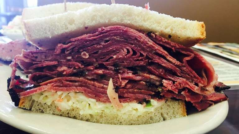 The pastrami and tongue sandwich with coleslaw on