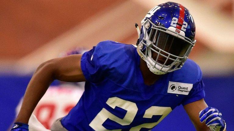 New York Giants defensive back Mykkele Thompson participates