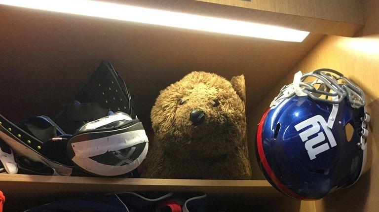 The bear in Justin Pugh's locker is the