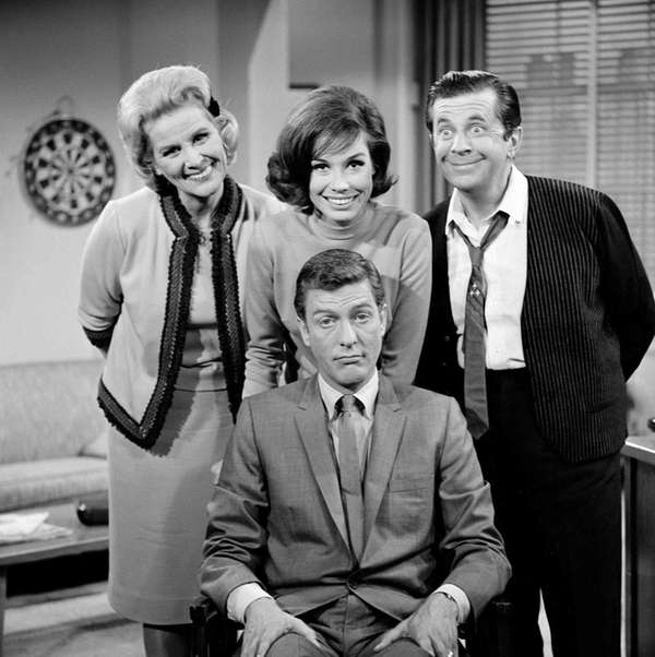 Dick Van Dyke, seated, with Rose Marie, left,