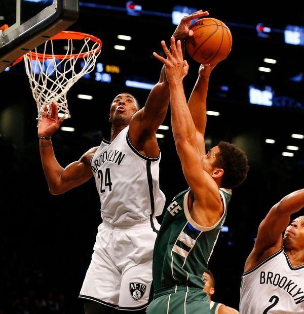 Rondae Hollis-Jefferson of the Brooklyn Nets blocks a