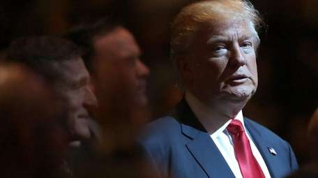 Republican presidential nominee Donald Trump attends a worship