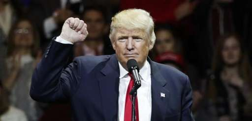 President-elect Donald Trump raises his fist as he