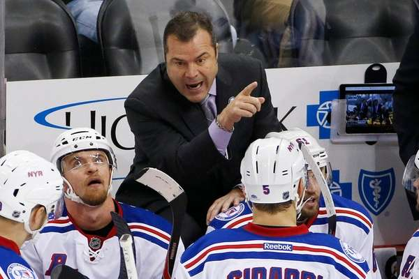 New York Rangers' head coach Alain Vigneault gives