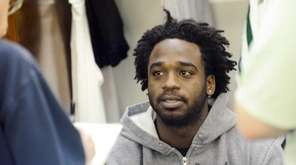 NY Jets running back Joe McKnight talks to