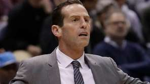 Brooklyn Nets head coach Kenny Atkinson reacts during
