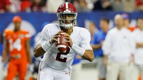 Jalen Hurts of the Alabama Crimson Tide looks