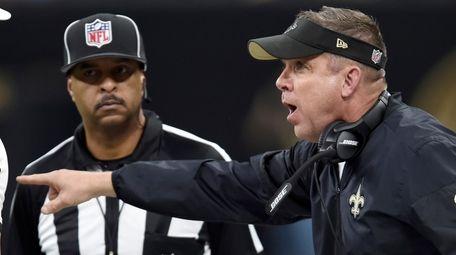 New Orleans Saints head coach Sean Payton challenges