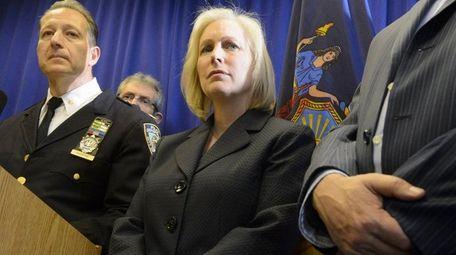 N.Y. Sen. Kirsten Gillibrand, with NYPD Deputy Inspector