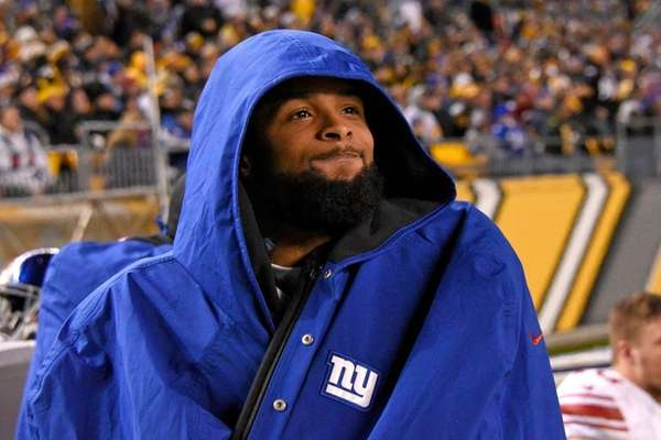 New York Giants wide receiver Odell Beckham stands