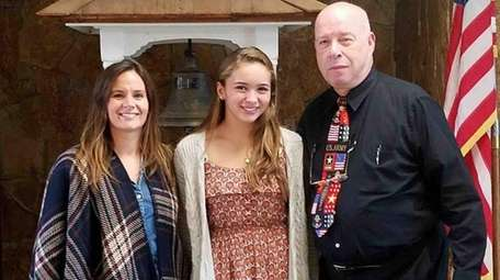 Emily Orski, center, with East Islip guidance counselor