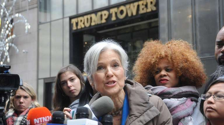 Jill Stein and supporters hold a news conference