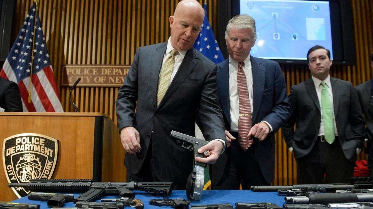 NYPD Commissioner James O'Neill, left, and Manhattan District