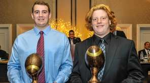 Shoreham-Wading River's Ethan Wiederkehr, left, and West Islip's