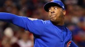 Aroldis Chapman delivers for Chicago Cubs during Game