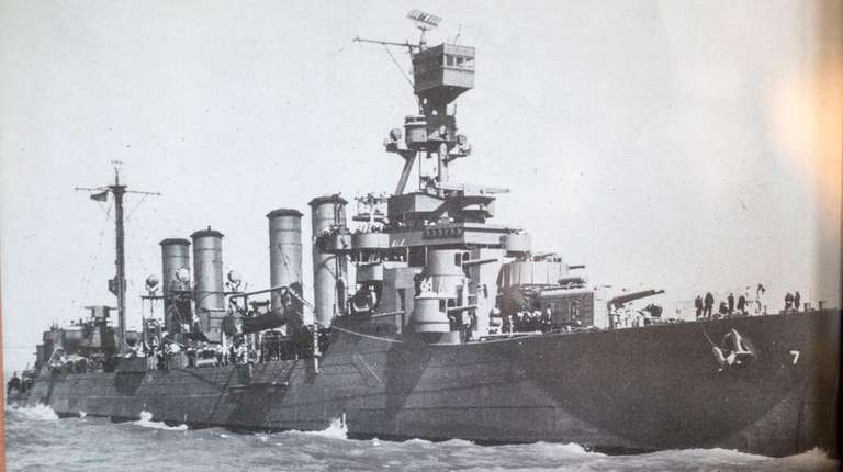 An undated photo of the USS Raleigh hanging