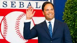 Inductee Mike Piazza is introduced at Clark