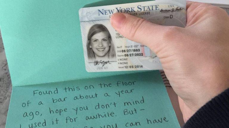 Christina Egan received this letter returning her driver's