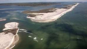 An aerial shot of Fire Island.