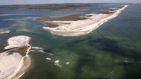 An aerial shot of Fire Island.