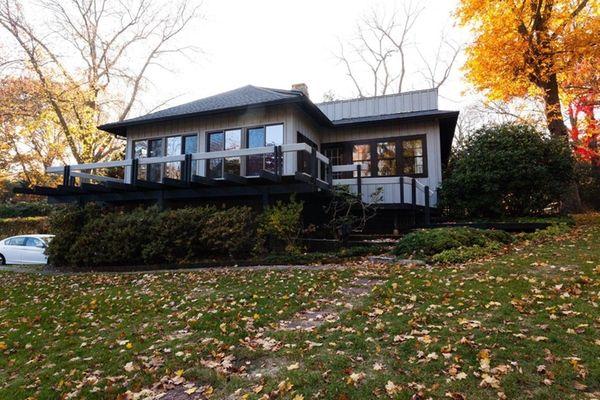 This house in Shoreham features multiple decks. The