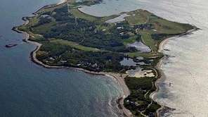 An aerial view of Fishers Island on July