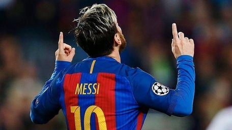 FC Barcelona's Argentinian striker Lionel Messi celebrates his