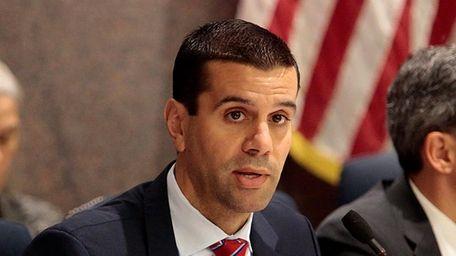 Senator Michael Venditto makes a statement on Monday,
