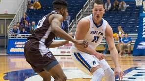 Hofstra center Rokas Gustys scored six points during