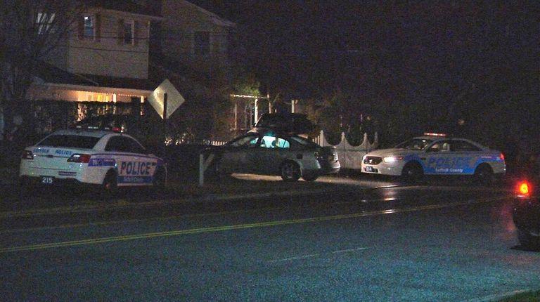 Suffolk County police investigate a crash in Huntington,