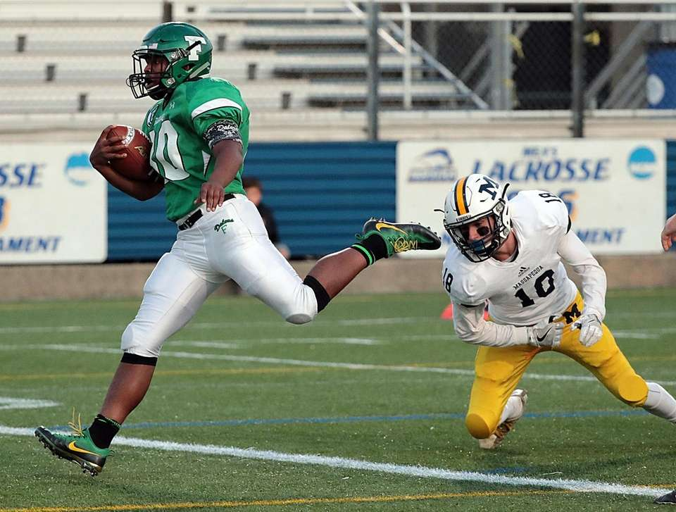 Farmingdale running back Jordan McLune (30) strides over