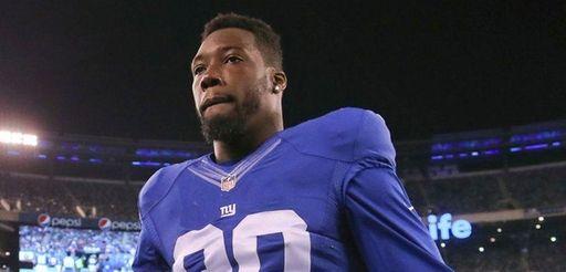 New York Giants defensive end Jason Pierre-Paul greets