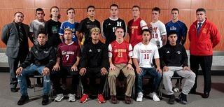 Boys soccer team (seated, l-r) Oscar Hernandez, Amityville,