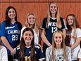 Girls soccer (seated, l-r) Caitlin Cosme, Herricks, Hannah