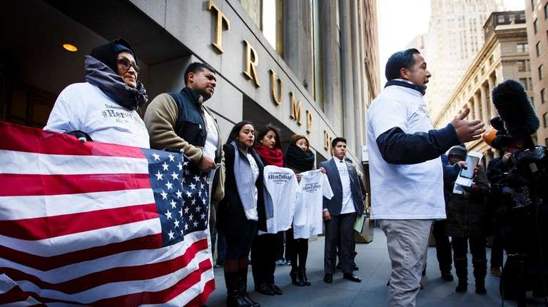 Immigration advocates hold a news conference in an