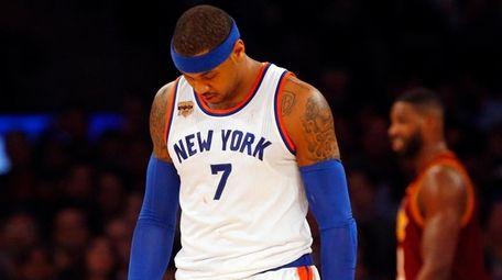 Carmelo Anthony of the New York Knicks walks