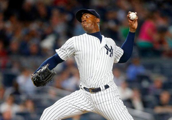 Aroldis Chapman of the New York Yankees pitches