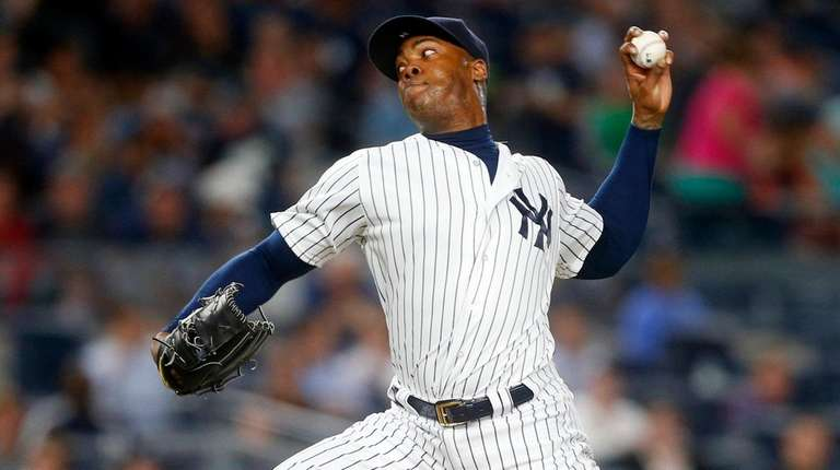 Aroldis Chapman of the New York Yankees pitches