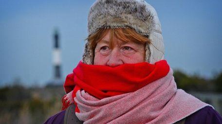 Nancie Rostrup of Lindenhurst bundles up for the