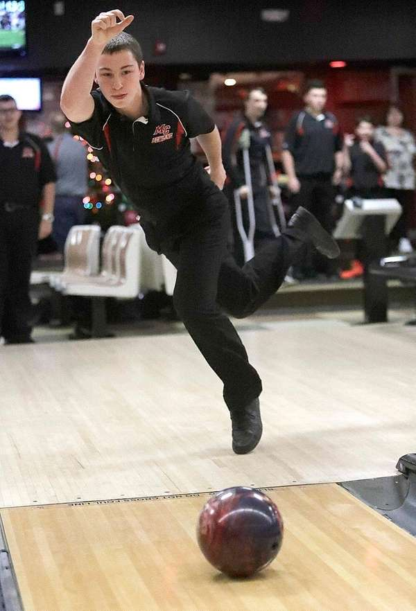 Middle Country's Kurt Schall bowls during a match