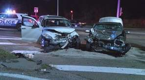 Suffolk County police respond to a crash late
