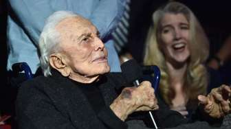 Actor Kirk Douglas speaks during the MPTF 95th