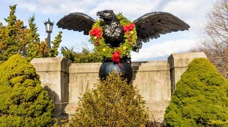 A decorative eagle -- dressed up for the
