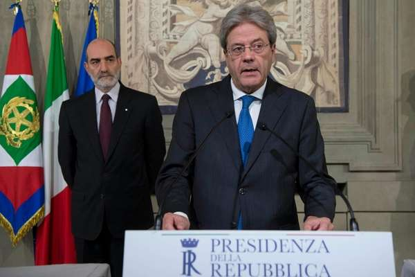 Paolo Gentiloni speaks at the Quirinale presidential palace,