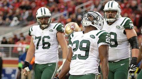 New York Jets running back Bilal Powell celebrates