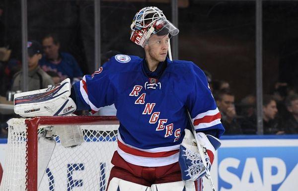 New York Rangers goalie Antti Raanta looks on