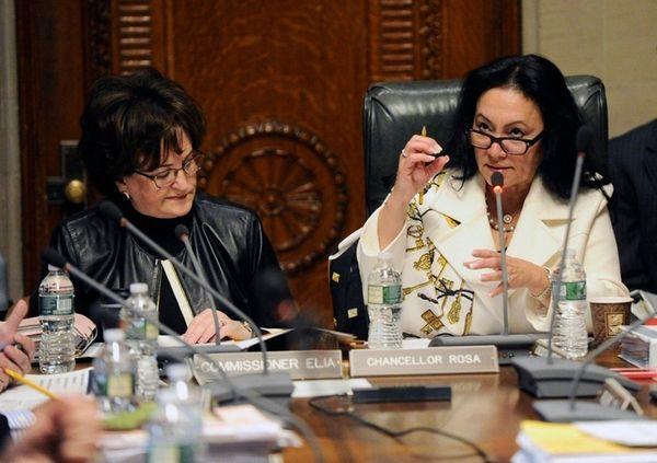 New York State Education Commissioner MaryEllen Elia, left,