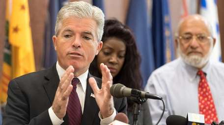 Suffolk County Executive Steve Bellone was joined Monday,