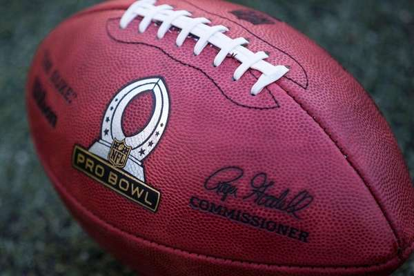 The Pro Bowl logo on a football during